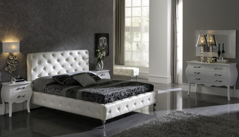 Interior Achromatic Bedrooms With Gorgeous Combination Of Black White Color Luxury Black White Bedroom With Leather Set 790 453 Ivory Tower